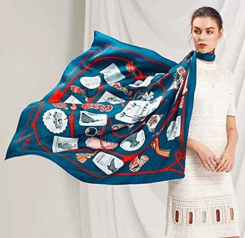 ZWQ Frauen Seidenschal Große Tücher Stolen Blume Baum Print Quadrat Schals Mode Femme Wrap Bandanas106 * 106 cm,B