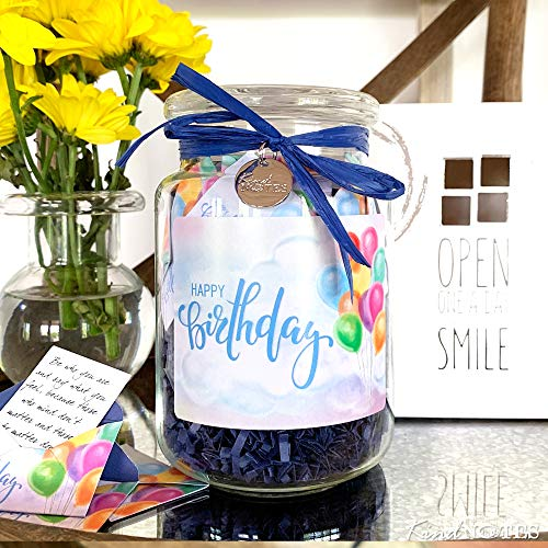 KindNotes Glass Keepsake Gift Jar with Inspirational Messages - Happy Birthday Design
