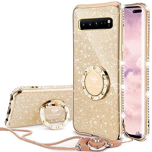 OCYCLONE Hülle Kompatibel mit Samsung Galaxy S10 5G, Glitzer Diamant Handyhülle mit Trageband & Handy Ring Ständer Schutzhülle für Galaxy S10 5G Handyhülle für Mädchen Frauen, [6.7