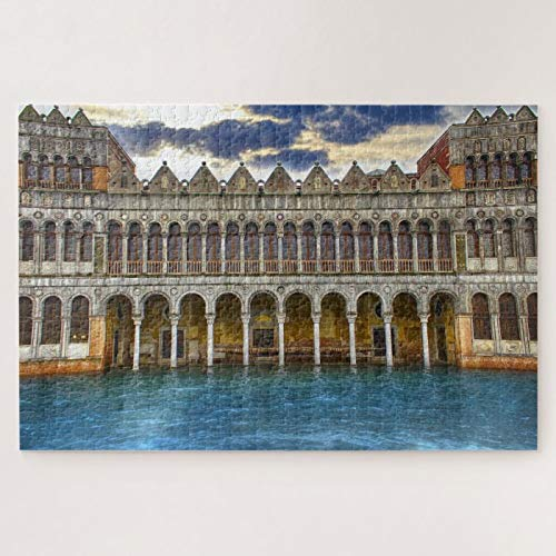 ANGELA G Wooden Jigsaw Puzzle 1000 Piece for Adults, Travel Italy Venice Architecture Water Photography Jigsaw Puzzle Game Toys Gift Jigsaw Puzzle
