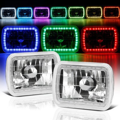 Fits 86-95 JEEP WRANGLER YJ 7X6 RGB MULTI COLOR LED SMD Halo Headlights SET PAIR