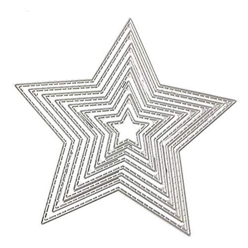 Plantilla en relieve, 8 piezas con forma de pentagrama de estrella, troqueles de corte de metal, plantilla en relieve para álbum de recortes, tarjeta de papel para manualidades, decoración artística