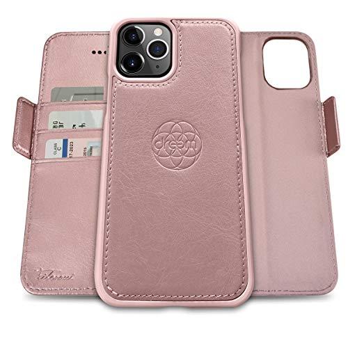 dreem Fibonacci 2in1 Custodia Portafoglio in Pelle per iPhone 12 & 12 PRO | Cover iPhone Magnetica Antiurto TPU Sottile | Protezione RFID | 2 Posizioni | Confezione Regalo – Rosa Dorato
