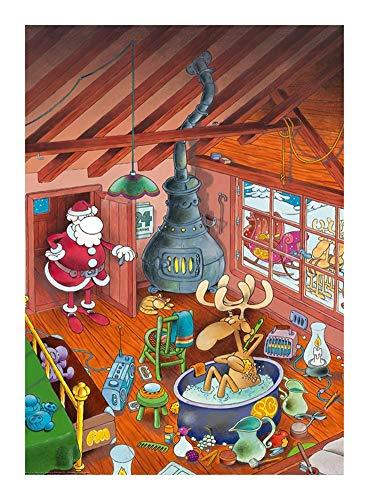 JCXOZ Christmas Series Wooden Jigsaw Puzzle - Funny Elk - Large 300/500/1000 Pieces - Colorful Classic 3D Puzzle Toy Unique Gift Home Decor (Size : 500pcs)