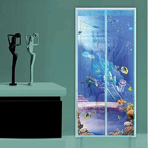 Sommer Anti-Moskito-Schlafzimmer neue Anti-Moskito-Magnetbildschirm Cartoon-Muster Druck Magnetstreifen schließt automatisch Netzvorhang Magnetnetz-Siebtür A1 B100xH210