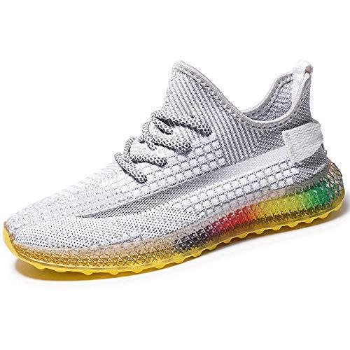 AXDNH Zapatillas de Malla de Hombre, Deportes al Aire Libre versátiles Zapatos de Malla absorción de Golpes Ligeras Suelas de Arco Iris Calzado de Estudiante Calzado Deportivo,Gray,41