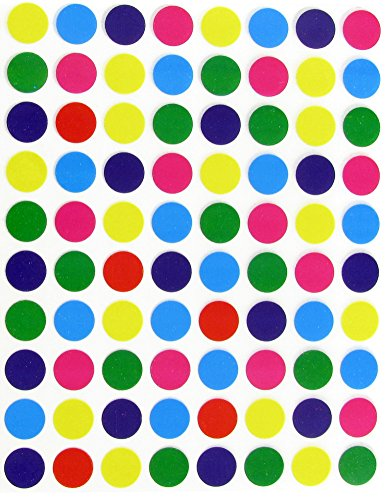 1/2 (0.5) Half Inch Round Color Coding Labels--Value pack Assorted colors Dot Stickers 7 Colors--Blue, Purple, Green, Orange, Red, Pink and Yellow Dot Labels multi Pack--Classic colors semi gloss (400 Pack)