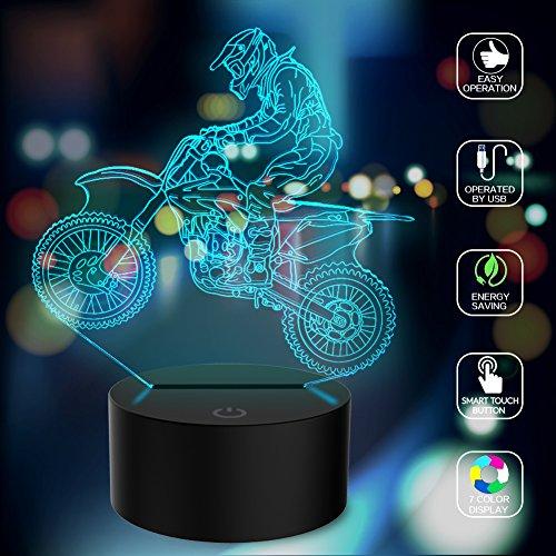 3D Illusion Lampe mtb Motocross Fahrrad LED Nachtlicht, USB-Stromversorgung 7 Farben Blinken Berührungsschalter Schlafzimmer Schreibtischlampe für Kinder Weihnachts geschenk