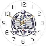 Barber Shop Vintage Badge Impreso Reloj de Pared Barber Shop