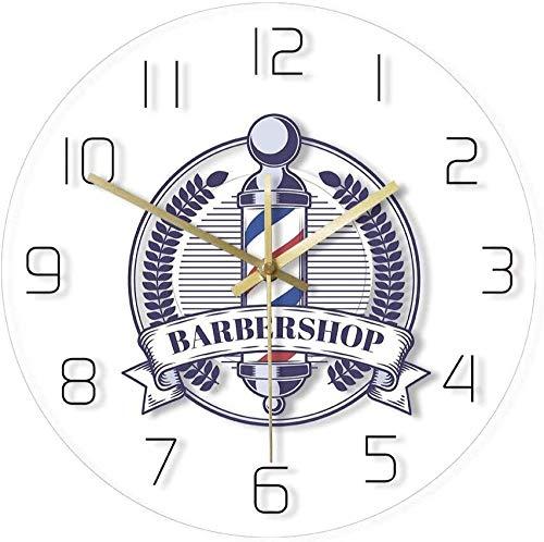 Barber Shop Vintage Badge Impreso Reloj de Pared Barber Shop Pole Logo Moderno acrílico decoración de la Pared Reloj Hombres s peluquería Reloj de Pared 30x30cm