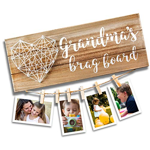 VILIGHT Grandma's Brag Board - Gifts for Grammy from Granddaughter and Grandson - Nana Grandmothers Photo Holder - 13.5x5.5 Inches