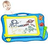 Pizarra Magnetica Dibujo Infantil con 2 Sellos Forma Animal para Juguetes Educativos Preescolares - 31,5 x 21,5 cm, Azul