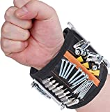Flybiz Bracelet Magnétique Réglable Avec 15 Puissants Aimants, Bracelet pour Vis, Clous, Mèches De Perceuse et Petites Pièces Métalliques, Cadeau pour Père, Bricoleur, Cadeau pour Fête des Père, Noel