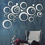 Shackcom 24 Pcs Pegatinas Decorativas Etiqueta de la Pared del Espejo Acrílico Pegatinas Adhesivos para DIY Decoración Moderna Pared Sala Cocina Hogar-Ahuecar-Silver