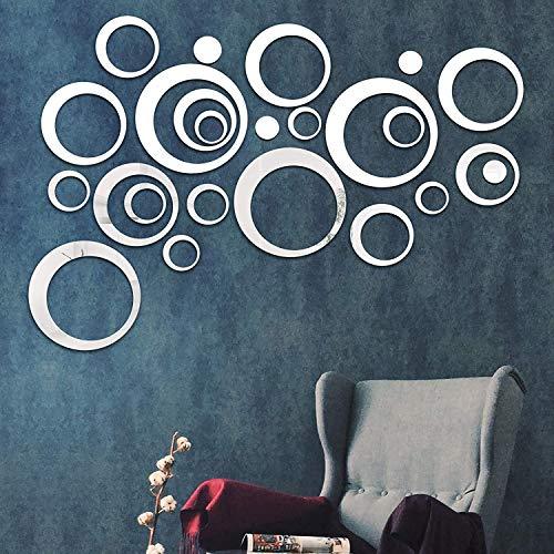 Shackcom 24 Pezzi Removibile Acrilico Specchio Fai da Te Adesivo Parete Specchio Decal Decorazione Domestica Piastrelle Appiccicoso,per Casa Decorazione Soggiorno Camera da Letto-Argento