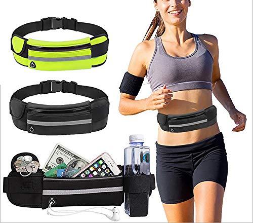 Pacote com 2 cintos de corrida Snnet para homens e mulheres, resistente à água reflexiva ultra leve ajustável para todos os tipos de telefones, bolsa de cinto para fitness, treino, corrida