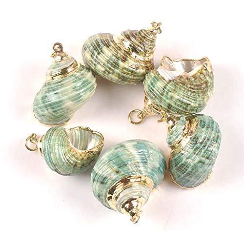RUIXFFT 5pcs natürliche grüne Spirale Shell, Gold überzogene Schmucksachen Handgemachter Anhänger Hauptdekoration