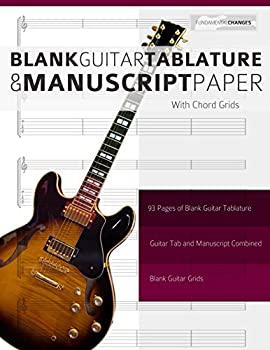 Blank Guitar Tablature and Manuscript Paper with Chord Grids