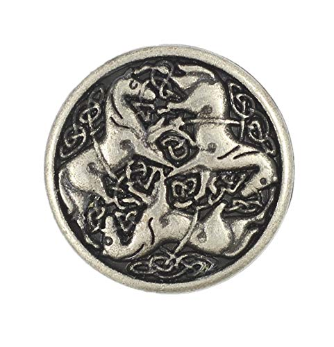 Bezelry 12 Pieces Celtic Horses Metal Shank Buttons. 18mm (11/16) (Antique Silver)