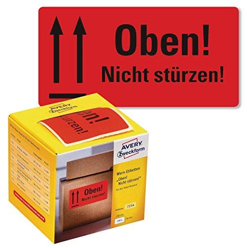 AVERY Zweckform Warnetiketten 7214 Oben Nicht stürzen (neon rot, 100 x 50 mm, 200 Etiketten auf Rolle) im Kartonspender