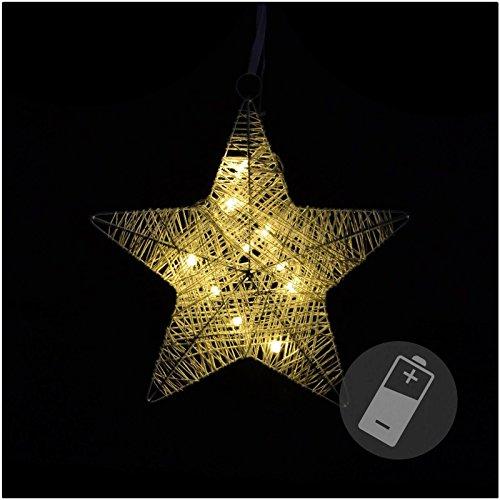 SSITG étoile Effet rotin 10 LED étoile de Noël étoile en rotin Noël Décoration 25 cm (Livraison Roulement Allemande 3–7 jours)