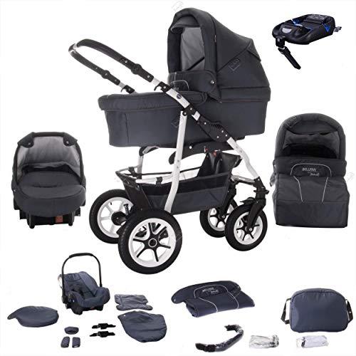 Bebebi Bellami | ISOFIX Basis & Autositz | 4 in 1 Kombi Kinderwagen | Luftreifen | Farbe: Bellagrey