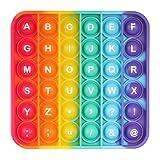 Dásīlín Push and Pop Bubble Fidget Toy, Juguete Antiestres Educativo para aliviar el estrés, Necesidades Especiales silenciosas Aula para niños (Square-Rainbow)