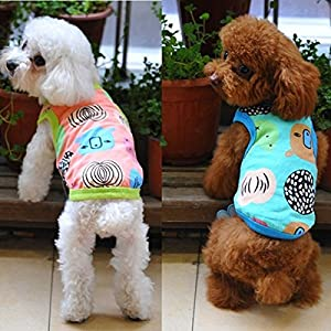 Calli Color Summer Small Cat Dog Beach T-Shirt Vest Clothes Puppy Stripes Vest
