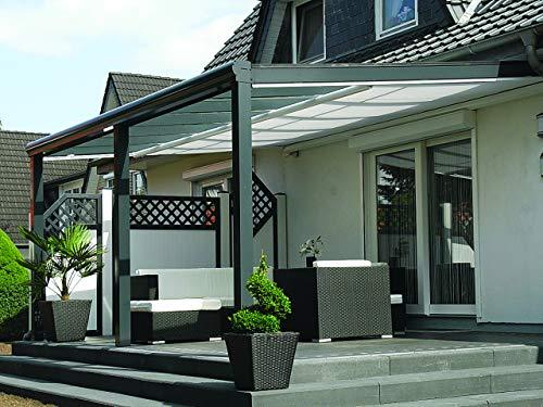 Terrassenüberdachung aus Aluminium mit 10mm Glaseindeckung und Premium Unterglasmarkise (6,00m x 4,00m (BxT), Anthrazit (RAL 7016 Strukturiert))