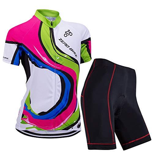Donne Manica Corta Jersey Abbigliamento Set, Ciclismo Magliette Corta Jersey Camicia + 3D Gel Imbottito Pantaloncini Ciclismo Equitazione Bike Sportswear (Barra dei Colori, M)