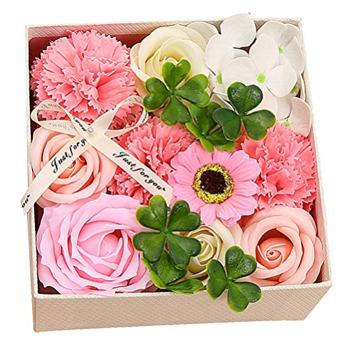 Amosfun Jabón de baño clavel flor de San Valentín caja de regalo de aspecto real para el día de la madre, día de San Valentín, flor de clavel artificial centro de mesa