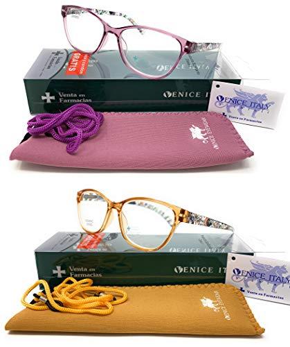 Pack 2ª unidad al 50% New Model última moda Gafas de lectura, presbicia, vista cansada, Diseño en 3 Colores. VENICE LAURENT - Dioptrías: 1 a 3,5 (Azul, 1.00) (Pack de 2 Marron y Lila, 3.00)