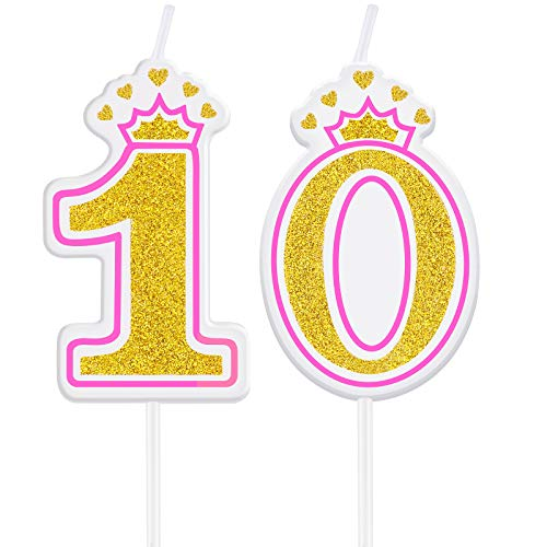 Birthday Candles Cake Numeral Candles Happy Birthday Cake Candles Topper Decoration for Girls Birthday Wedding Anniversary Celebration Favor (10th)