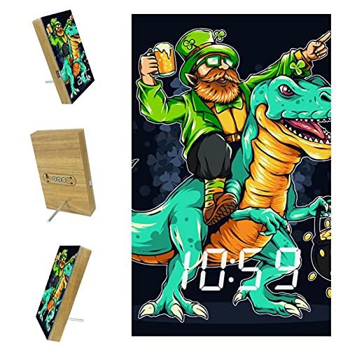 Indimization Reloj Digital Dinosaurio, y, Hombre Reloj Despertador Digital Pantalla LED Operación Simple Función de repetición niños 6.2x3.8x0.9 in
