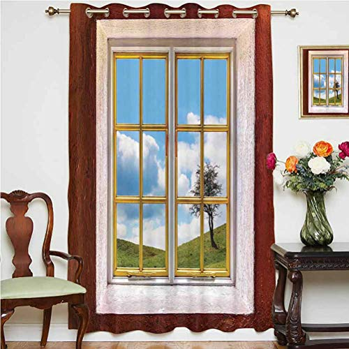 House Decor Sliding Door Curtain View of A Meadow Grass with Tree through Window Countryside Rural Cottage Flourishing Image Thermal Backing Sliding Glass Door Drape ,Single Panel 63x45 inch,for Livin