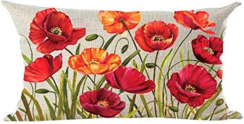 Mesllings Federa per cuscino decorativo, motivo: fiori di papavero, dipinti a mano, stile retrò, colore rosso, arancione, rosa, decorazione per la casa, il soggiorno, il letto, il divano, l'auto, in cotone e lino, rettangolare, 30,5 x 50,8 cm