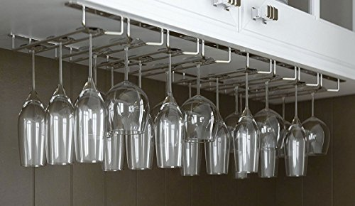 Useful. Under Cabinet Hanging Stemware Rack Hold Up To 24...