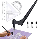 Craft Cutting Tools For Paper Crafts With Triangle Ruler 360 Degree Rotating BladeCraft Knife Stainless Steel Craft Knife Hobby Knife Art Cutting Tool ForStencilVinylScrapbook