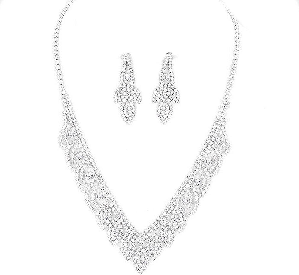 Sparkling Multi Strand Rhinestone Necklace Statement Pageant Bride Bridal Mint!