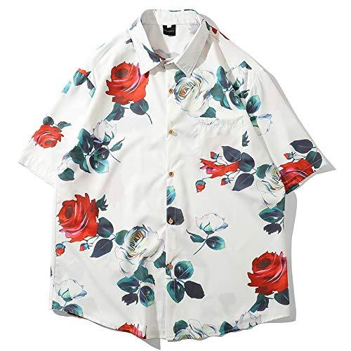 Camisas de Manga Corta Finas y relajadas para Hombres Camisas Hawaianas Informales con Bolsillo de Costura con Estampado Personalizado L