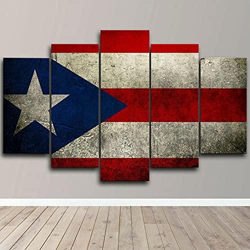 QQWW Bilder Abstrakt 5 Teilig Wandbild XXL Puerto Rico Flagge Dominikanische Republik Leinwand Bild Wandbilder Wohnzimmer Wohnung Kunstdrucke Modern Wandbilder Design Abstrakt Poster Wanddekoration