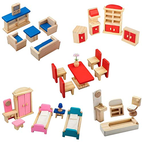 Iwinna 5 Set Colorful Wooden Doll House Furniture, Wood Miniature Bathroom/Living Room/Dining Room/Bedroom/Kitchen House Furniture Dollhouse Doll Decoration Accessories Pretend Play Kids Toy