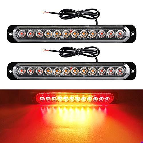yifengshun 2 x 12-24V 12 LED de Luz Estroboscópica de Emergencia Para Automóviles Con Remolque de Camión (Rojo y Ámbar y Rojo)