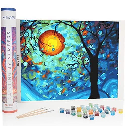 MARPL Pintura por números para adultos – Varios diseños – DIY Painting by Numbers con caja de regalo, lienzo, pincel y pinturas acrílicas – sin marco (luna luna)