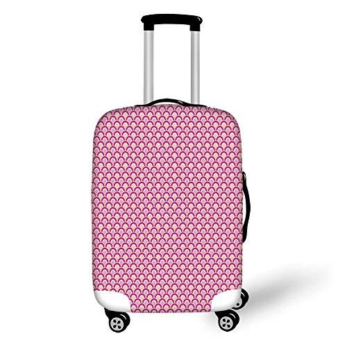 Reizen Bagage Cover Koffer Beschermer, Roze Decor, Overlappende Cirkels Gestippeld Ontwerp Levendig Gekleurde Zee Geïnspireerd Golf, Roze Magenta Perzik, voor Reizen