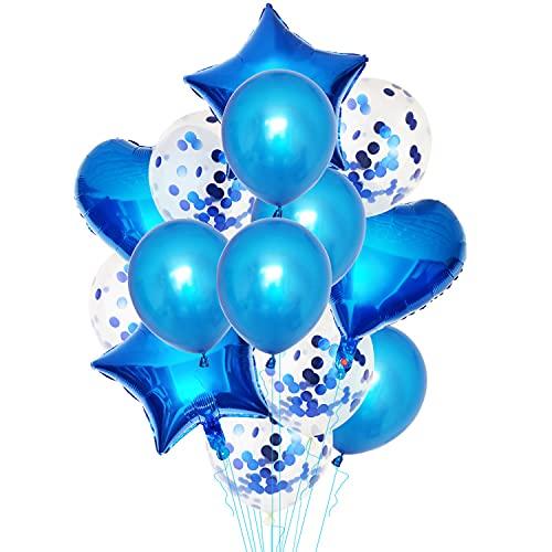 Palloncini Azzurri Coriandoli, Party Balloon per Matrimonio, Compleanno,Palloncini Blu Perlati per Decorazioni Festa Nascita Bambino, Cerimonia Party Decorazioni,Matrimonio Blu (12 Pollici)