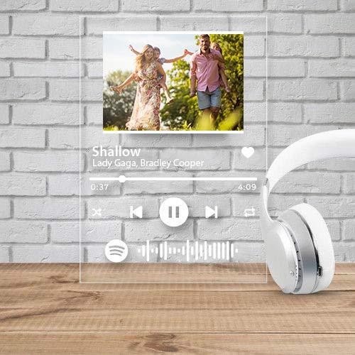 Targa Spotify Personalizzata, Personalizzato Spotify Code con Foto, Targa Acrilica Personalizzata Spotify per La Decorazione della Camera, Regali per La Festa del papà, Regali di Compleanno