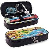 Kinder, Karikatur-Art-Tiere, die auf Strand-Affe-Flusspferd-Delphin-exotischer Sommer-Illustration spielen