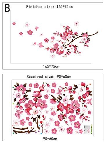 Schöne Blume Wandaufkleber Kirschblüten DIY Home Decor Kirschbaum Tapeten für TV Sofa Wohnzimmer Schlafzimmer abnehmbar