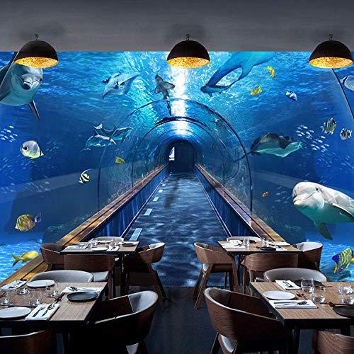 Decoratieve Wallpaper_Underwater Wereld Dolfijn Marine Stijl Mural Restaurant Hotel Zeevruchten Paviljoen Wanddecoratie Creatieve Wallpaperwallpaper Woonkamer voor Slaapkamer (W)150cm×(h)105cm
